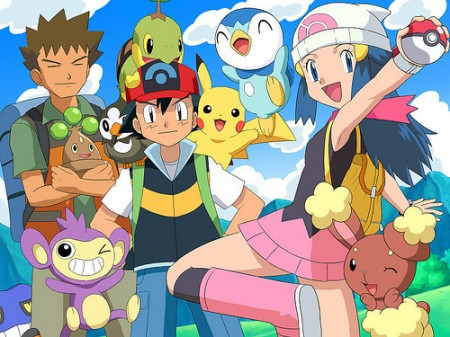 Ash-Brock-Dawn-and-Pokemon